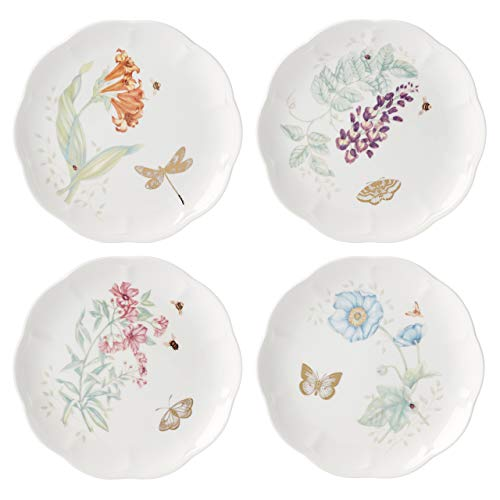 Lenox Butterfly Meadow Gold 4-Piece Accent decorative-plates, 4.15 LB, Multi