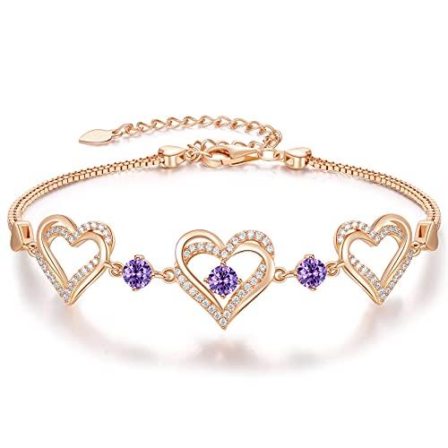 CDE Armbänder für Damen 925 Sterling Silber Herz Rosegold Geburtsstein Armband Geschenk Schmuck für Frauen mit 5A Kubik Zirkonia Geburtstag Weihnachts (Rosegold - Februar)