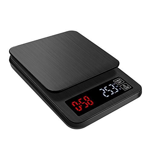 FREELX Báscula de Cocina Digital Inteligente con Carga USB, Pantalla LCD Retroiluminada, Temporizador Electrónico de Balanza de Alimentos Electrónica de Acero Inoxidable 5 kg / 11 lb