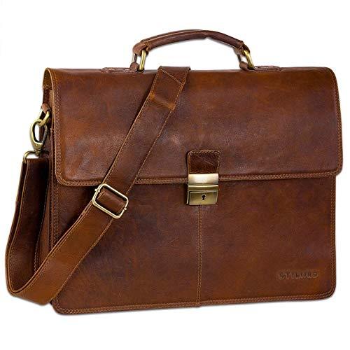 STILORD Vintage Aktentasche Herren Büro Business Schultertasche Laptoptasche mit Schloss groß echtes Rinds-Leder braun