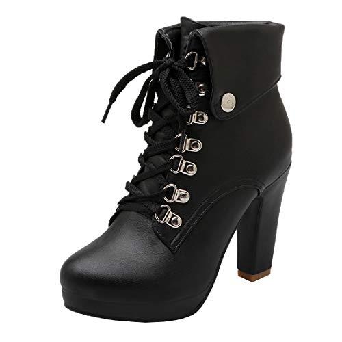 MISSUIT Damen Schnürstiefeletten Blockabsatz Plateau Ankle Boots High Heels Stiefeletten mit Schnürung Absatz 10cm Schuhe(Schwarz,41)