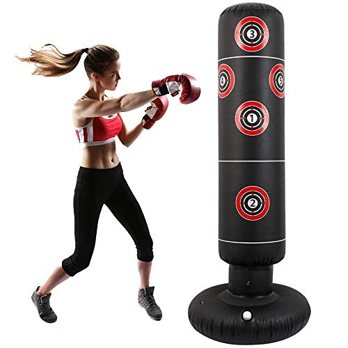 HJHY@ Punchbag Free Standing,Inflatable Boxing Bags for Boxing, Relieving Stress, Helping You Develop Skills and Release Emotions,Suitable for All Ages(160 Cm/63 in)