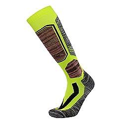 Unisex ski socks knee socks with special padding Winter warm breathable snowboard socks mens womens 1 pair (39-42, green)