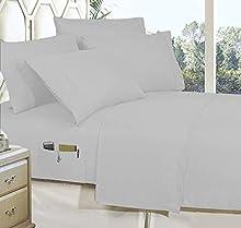 BudgetLinen Juego de sábanas inteligentes de algodón egipcio de 600 hilos, 4 piezas, con bolsillos utilitarios, color plateado, tamaño Super King de 180 x 200 cm