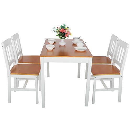 Cikonielf Tisch aus Kiefernholz mit 4 Stühlen aus Naturholz, Esstisch, Set für Wohnzimmer, Küche, Terrasse, Esstisch, Kiefer
