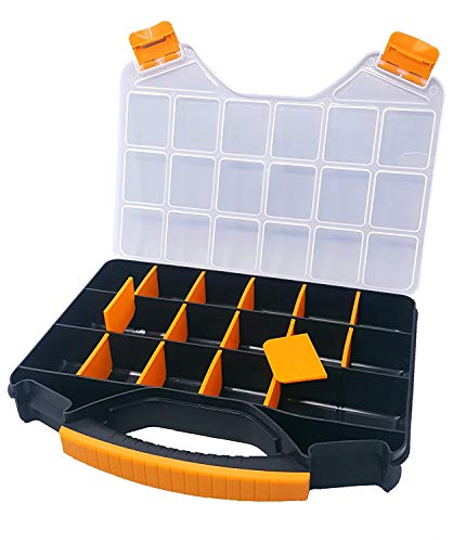 Massca Hardware Box Storage. Hinged Box Made of Durable Plastic in a Slim Design with 18 compartments. Excellent for Screws Nuts and Bolts.