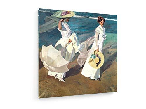 weewado Joaquin Sorolla - Paseo a orillas del mar 40x40 cm Impresion en Lienzo - Muro de Arte - Canvas, Cuadro, Poster - Old Masters/Museum
