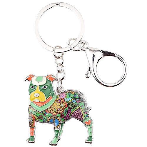 LZHLMCL Wife Key Ring Chain Giftenamel Alloy Dog Key Chain Keychains Rings Gift For Women Girls Pet Lovers Bag Car Pendant Green