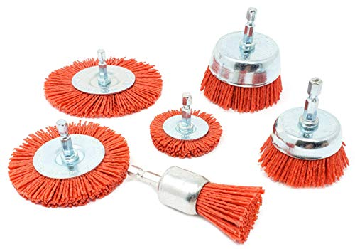 Nylon Filament Abrasive Wire Brush Kit for Drill, Set of 6