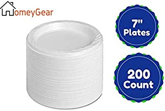 Disposable White 7 Inch Plastic Appetizer Plates For Everyday Use 200 Ct