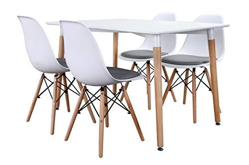 Noorsk Design Conjunto Mesa Kiel 120 + 4 sillas Tower + 4 Cojines (Cojín Gris)