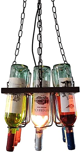 Samanthaa Araña Creativa 1-Ligero Botella de Vino araña Accesorios Retro Industrial Cristal araña Creativa Retro Techo Chandelier Cafe Loft Bar Cocina Isla Restaurante E27