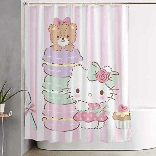 xuefan Duschvorhang Hello Kitty mit Kuchen Kunstdruck, Polyester Stoff Badezimmer Dekorationen Kollektion mit Haken - 60 x 72 Zoll