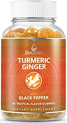 Turmeric Ginger with Curcumin Gummies, Joint Support and Pain Relief. Anti-Inflammatory, Chews for Adults & Kids, 60 Chewable Gummy Vitamins