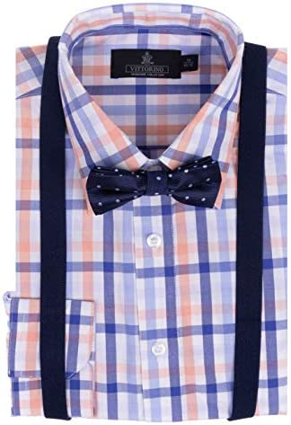 Vittorino Boys Dress Shirt with Matching Bowtie and Suspenders Set Light Blue and Orange Plaid product image