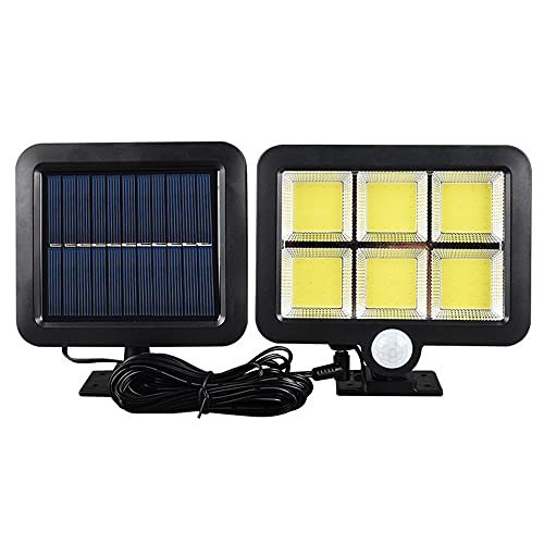 Aolyty Solar Motion Sensor Light with Separate Panel,3 Lighting Modes,120 Bright COB LED,16.4Ft Cable,Waterproof Wired Solar Powered Security Flood Lights for Wall, Yard, Garage Garden Porch Driveway