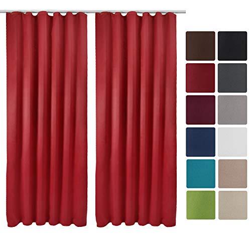 Beautissu 2er Set Gardine Blackout-Vorhang Amelie Kräuselband 140x245 cm blickdichte Verdunklungsgardine Universalband Rot