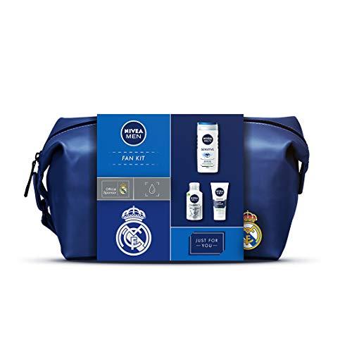 NIVEA MEN x Real Madrid Geschenk-Set für Männer, inklusive NIVEA MEN Sensitive Gesichtspflege Creme 75 ml, Balsam für Gesicht & Bart 125 ml, Duschgel 250 ml und gratis Real Madrid Kulturtasche