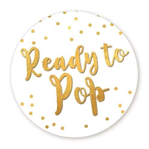 Ready to Pop Stickers | Faux Metallic Gold | Many Sizes & Colors to Choose from | Ready To Pop Baby Shower Stickers for Popcorn | Ready to Pop Stickers for a Boy or Girl (White, 1.67')