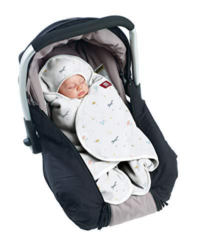 RED CASTLE, Couverture enveloppante Hiver bébé, Compatible Siège Auto/Pousette/Nacelle, Double Polaire, Douce, Chaude, Déperlante, Respirante, Babynomade, Happy Fox/Blanc, 0-6 Mois