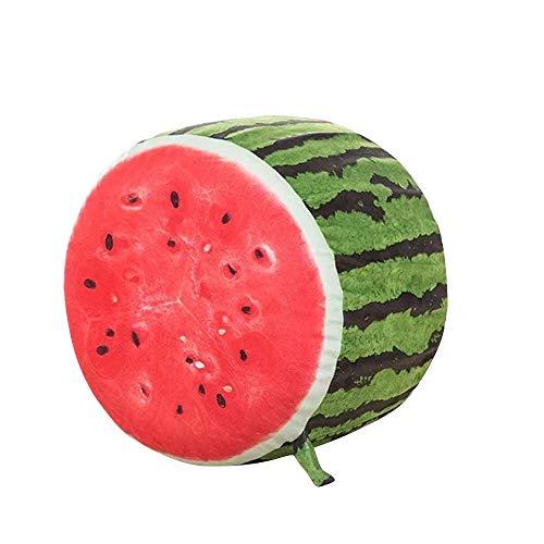 GRANDLIN - Tabourets gonflables en peluche pour adultes, adolescents et enfants, parfaits pour une utilisation en intérieur et en extérieur - Sièges gonflables avec pompe 36 x 30cm pastèque