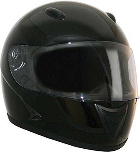 HCI Gloss Black Full Face Motorcycle Helmet - Fully-Vented ABS Shell 75-751 (Lg)