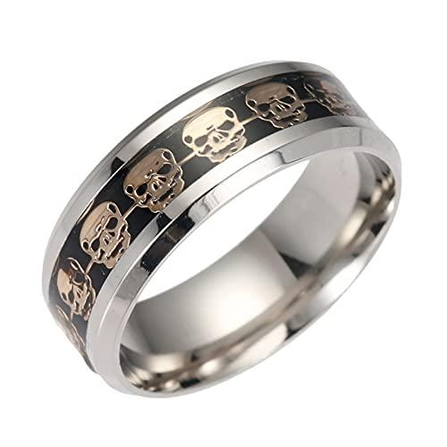 HEling Anillo de calavera para Halloween, personalidad, estilo punk, neutral, anillo de acero inoxidable, símbolo de calavera, diseño gótico de calavera, acero inoxidable