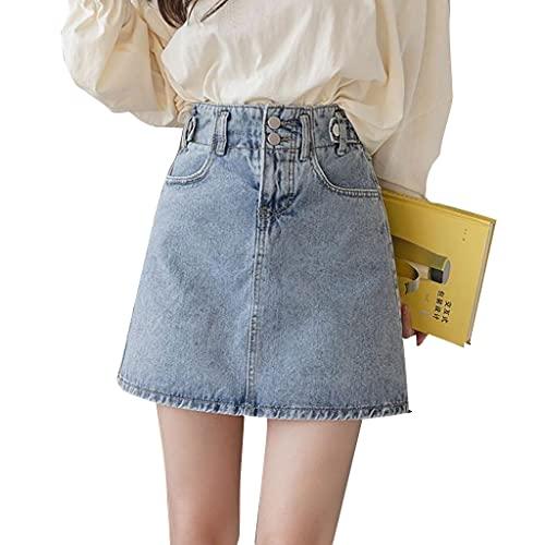MAOSUO Saia jeans feminina de cintura alta com dois botões e zíper casual slim evasê mini jeans saia atraente para uso diário