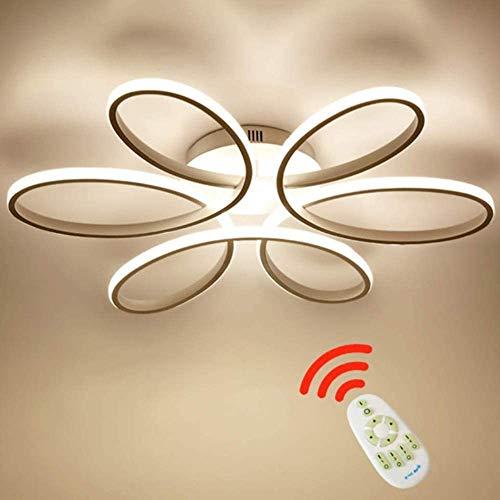 XIAOYY Moderne Led Deckenleuchte Weiß Dimmbar 75W Kreative Blumenförmige Deckenleuchte Acryl Aluminium Lampenschirm Gebogenes Design Wohnzimmer Lampe Beleuchtung 58Cm*11Cm [Energieklasse A++]