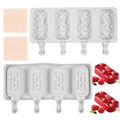 Molde de Helado de Silicona CHEPL 2pcs Moldes de Congelador 4 Cavity Pop Molde de Paleta Moldes de Helado de Bricolaje con 50 Palitos de Paleta, para Hacer Paletas