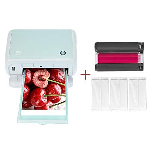 Aibecy Impresora fotográfica portátil a todo color Mini impresora doméstica de sublimación térmica, conexión WiFi BT con cartucho de tinta de color de 1 pieza y papel fotográfico de 54 hojas