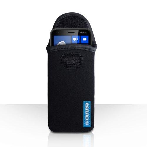 Caseflex Nokia Lumia 620 Tasche Schwarz Neopren Beutel Hülle Kompatibel Für Logo