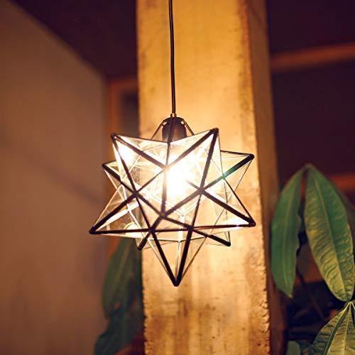 KDLK Lámpara de Cristal, lámpara Pentagram estéreo Crystal Light Star Colgante Transparente Techo de Cristal Moderna, Oriental E27 40 vatios