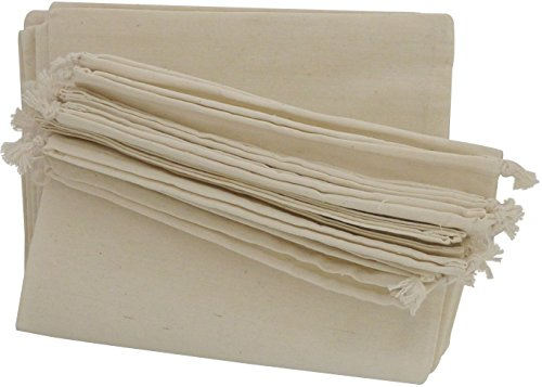 100 Percent Cotton Muslin Drawstring Bags 12-Pack for Shoes Storage Pantry - Unbleached (10 x 15, Beige)