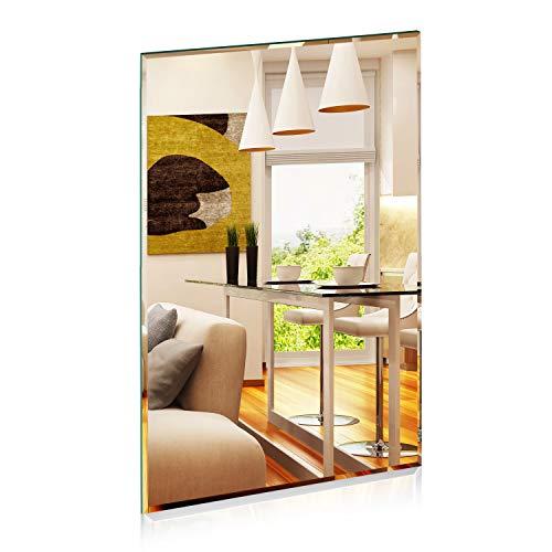 1000 MIRROWS® Spiegel Rechteckig mit Facettenschliff | 70 x 50 cm | Der perfekte Wandspiegel ohne Rahmen Badspiegel Dekospiegel für die Wand