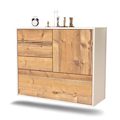 Dekati dressoir Fontana hangend (92 x 77 x 35 cm) romp wit mat | front houten design | Push-to-Open modern pijnboom