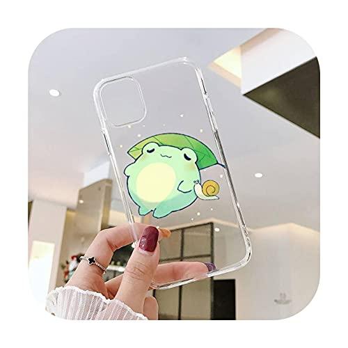 Cartoon Frog lindo teléfono Fundas transparente para iPhone 6 7 8 11 12 s mini pro X XS XR MAX Plus SE cubierta funda-a5-iphone xs