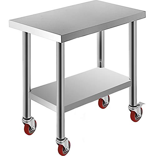 Mophorn 30x18x34 Inch Stainless Steel Work Table 3-Stage Adjustable Shelf with 4 Wheels Heavy Duty Commercial Food Prep Worktable with Brake for Kitchen Prep Work