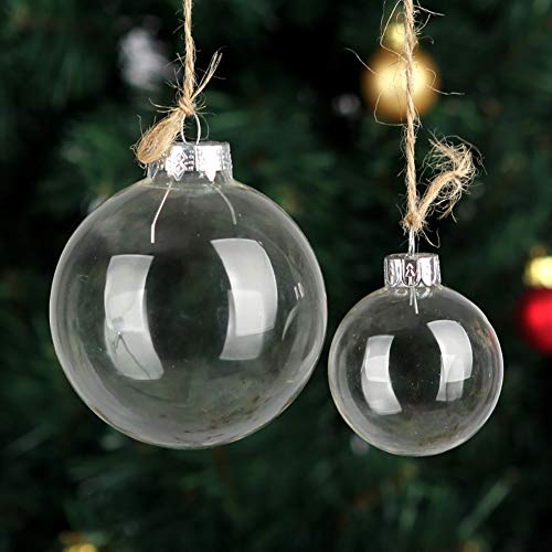 Conniecony 5 pcs Round Clear Glass Fillable Ornaments Ball Christmas Ornaments Holiday Wedding Party Decorations DIY Ornaments (100mm)