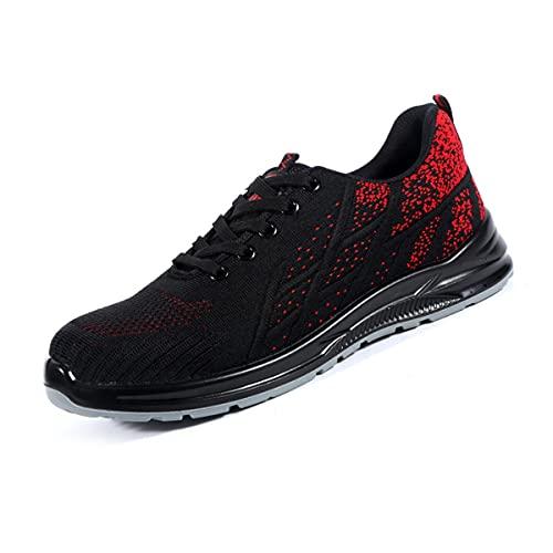 Aingrirn Zapatos de Seguridad Hombre Mujer, Punta de Acero Anti-Deslizante Zapatillas de Trabajo Ligeros y Transpirables Construcción Zapatos (Color : Red, Size : 46 EU)
