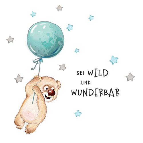 Little Deco Sticker Spruch sei wild & Teddybär I Wandbild M - 128 x 60 cm (BxH) I Luftballon Wandtattoo Kinderzimmer Junge Tiere Wandbilder Deko Babyzimmer Kinder DL329