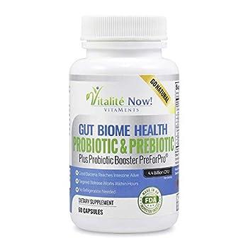 Premium Probiotic Plus Ultimate Prebiotic - Gut Biome Builder & Restoration - 4.4 Bn CFU - Best for Women & Men - Bacteria Reaches Intestine Within Hours - No Refrigeration - Bacillus Subtilis