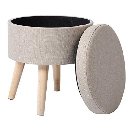 WOLTU® Sitzhocker mit Stauraum Fußhocker Aufbewahrungsbox, Deckel abnehmbar, Gepolsterte Sitzfläche aus Leinen, Massivholz, Cremeweiß, SH08cm-1