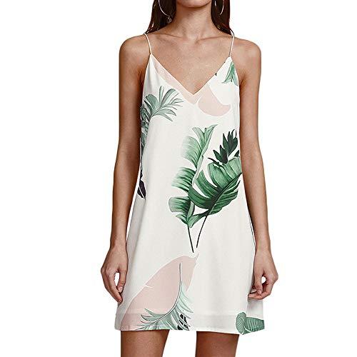 Neue Frauen Sexy V-Ausschnitt Sling Kleid Modedruck Holiday Beach Rock