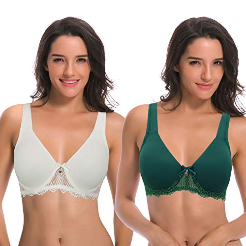 Curve Muse Women's Unlined Underwire Lace Bra with Padded Shoulder Straps-2PK-CREAM,Dark GREEN-48DDDD