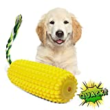 Spawtzy Dog Squeaky Toys for Aggressive Chewers, Interactive Squeaky Dog Toys for Small, Medium & Large Breed, Durable Dental Chew Toys for Teething, Anxiety Calming, Tug, Yard & Pool (Yellow Corn)