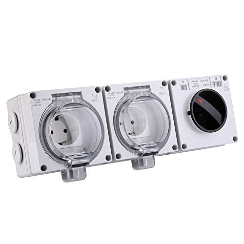 KSTE Waterdichte IP66 elektrische stekker voor de buitenstekker, stopcontact met aan-uit (250 V DE Plug)