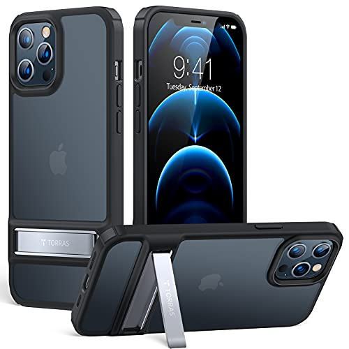 TORRAS MarsClimber Designed for iPhone 12 Pro Max Case, [3 Stand Ways] Translucent Matte Back & Silicone Bumper iPhone 12 Pro Max Phone Case with Metal Kickstand, Mystic Black