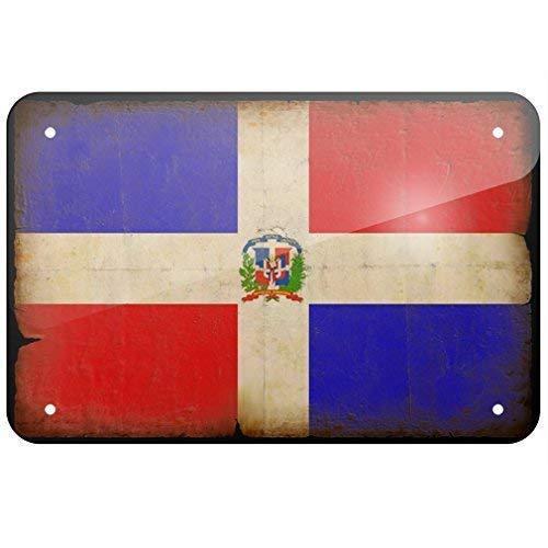 Blechschild Dominikanische Republik Flagge mit lustigem Blechschild, Vintage-Erscheinungsbild, für Bar, Café, Laden, Zuhause, Garage, Poster, Kunstdekoration, 20 x 30 cm