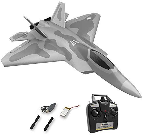 Top Race RC Fighter Jet, Avión RC de 4 canales listo para volar para adultos, Avión RC de alta velocidad, Listo para volar Hobby RC Avión adulto TR-F22B
